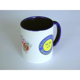 Keramiktasse weiß-blau